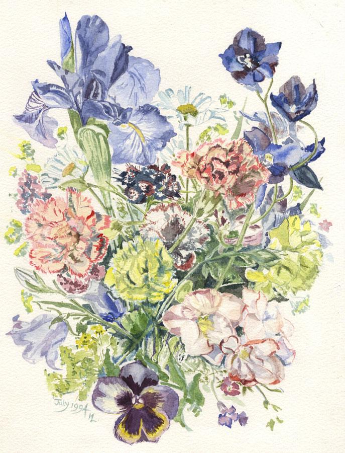 M.L. - 1994 Watercolour, Florals M.L.