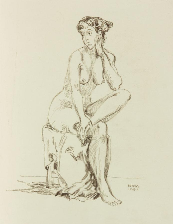 EDMA - 1991 Charcoal Drawing, Nude Holding Foot EDMA