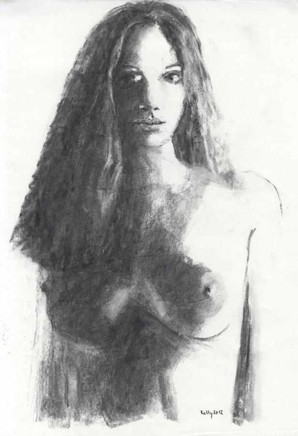Kelly - 2012 Charcoal Drawing, Female Nude Kelly