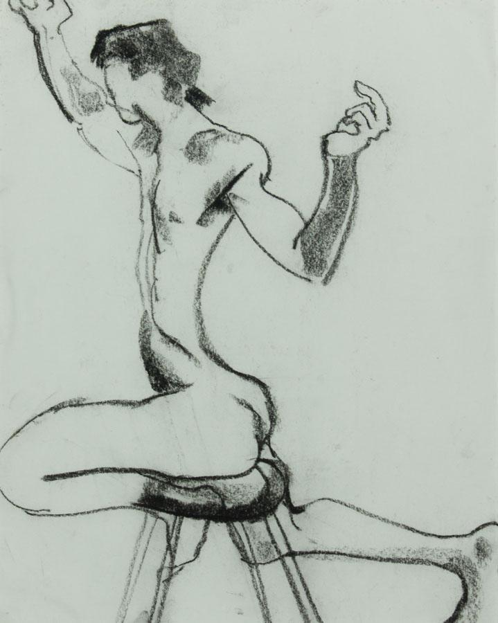 EDMA - Contemporary Charcoal Drawing, Nude Balancing on Stool EDMA