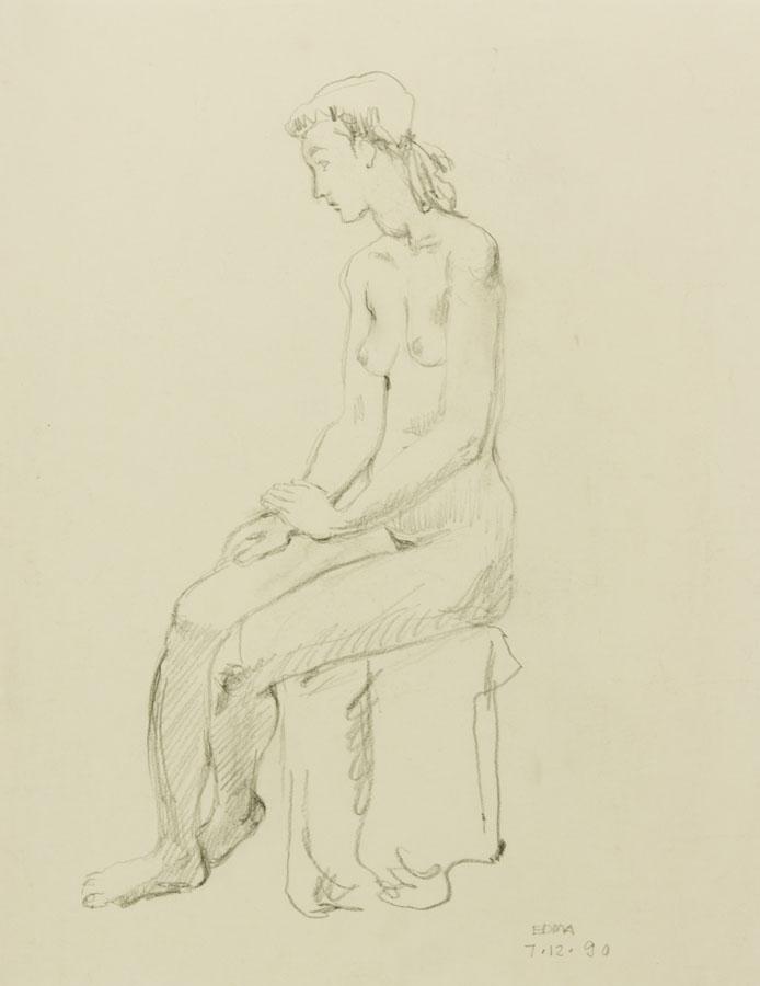 EDMA - 1990 Charcoal Drawing, Seated Nude EDMA