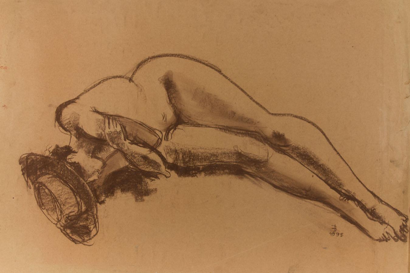 Modern British School - 1993 Crayon, Female Nude with Sun Hat Modern British School