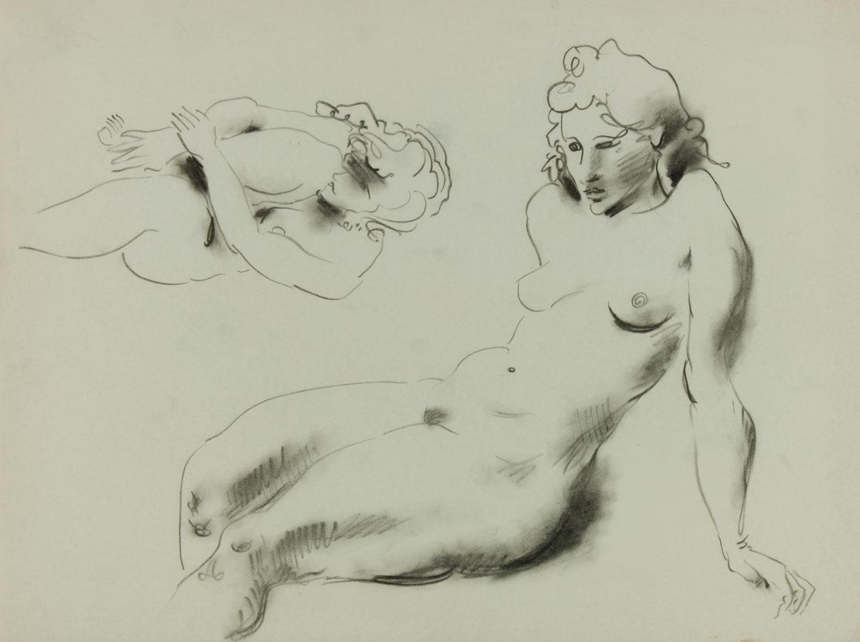Georg Mayer-Marton - Mid 20th Century Charcoal Drawing, Nude Studies Georg Mayer-Marton