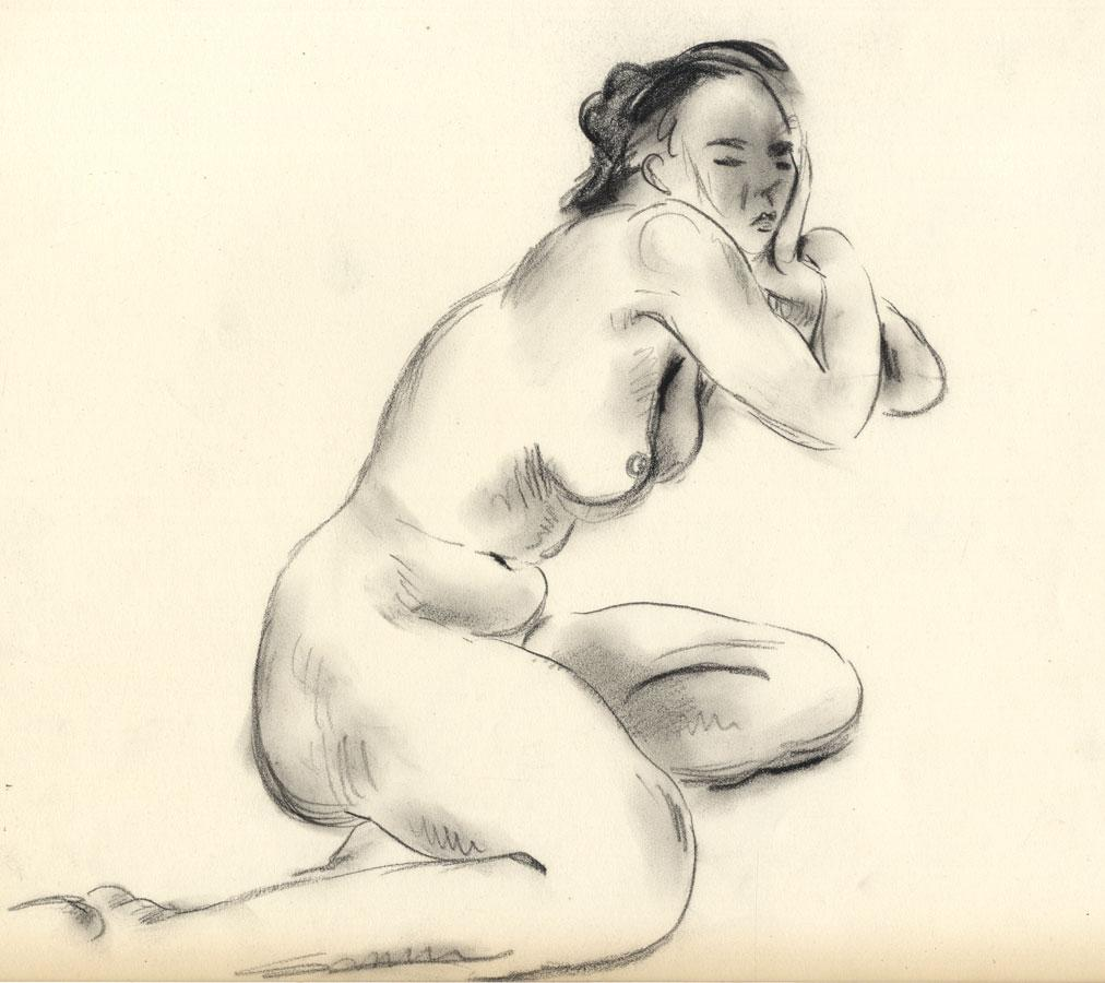 Georg Mayer-Marton - Mid 20th Century Charcoal Drawing, Nude. Georg Mayer-Marton