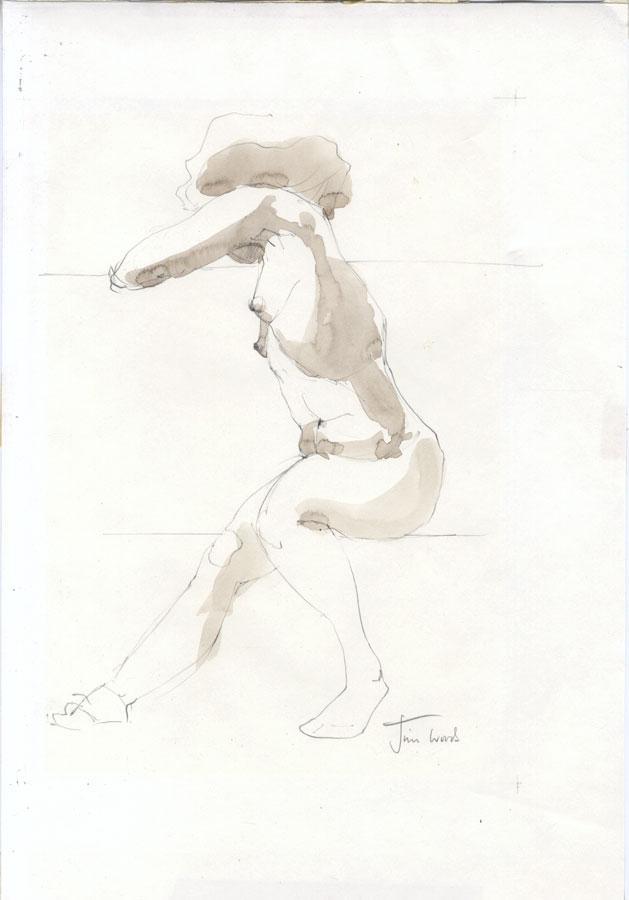Jim Woods (b. 1915) - circa 1980 India Ink, Seated Female Nude Jim Woods (b. 1915)