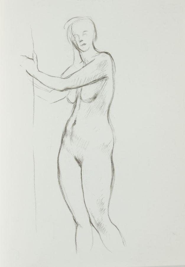 Barbara Dorf - Mid 20th Century Charcoal Drawing, Standing Female Nude Barbara Dorf