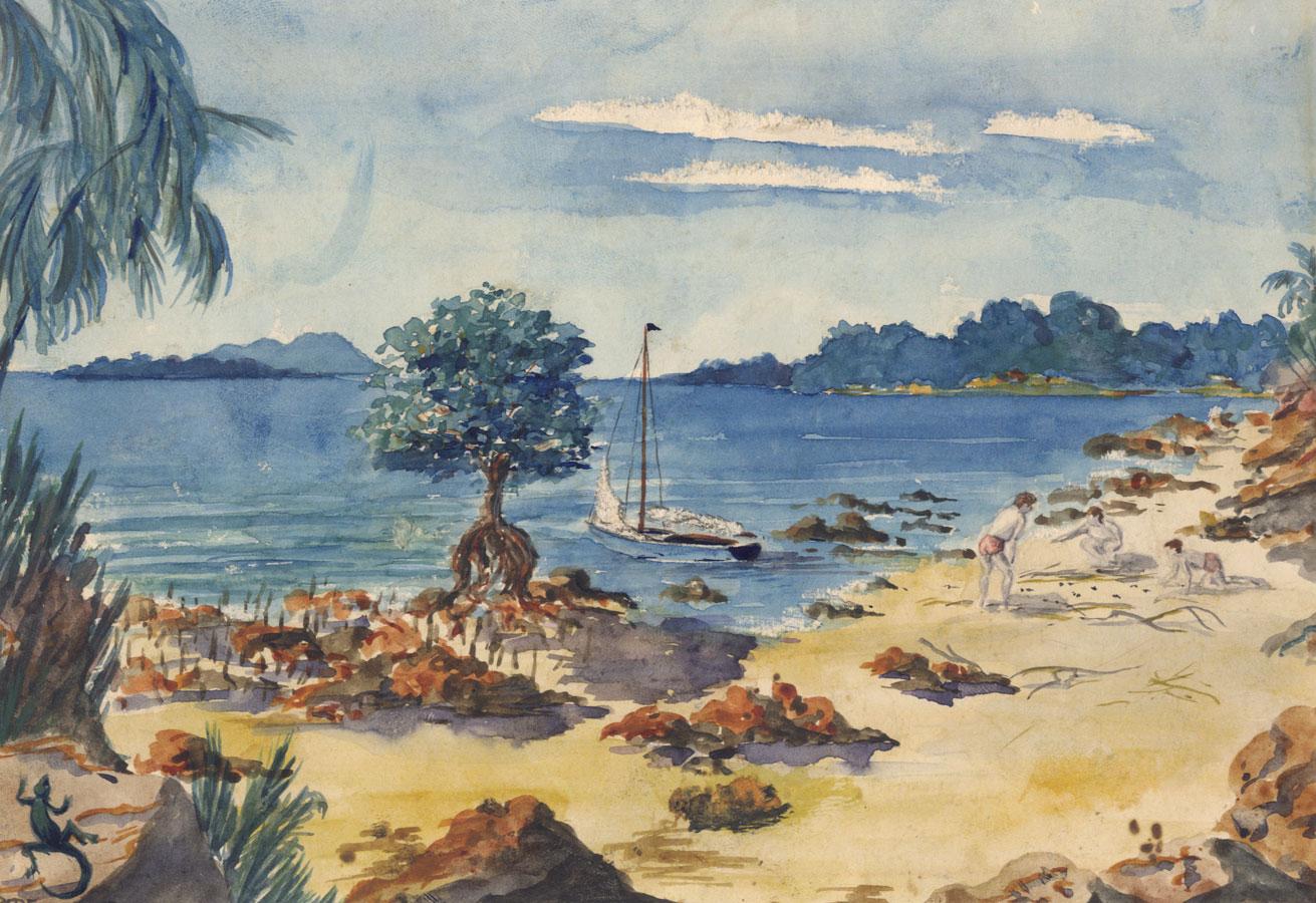 Vibrant Contemporary Watercolour - Tropical Beach Scene