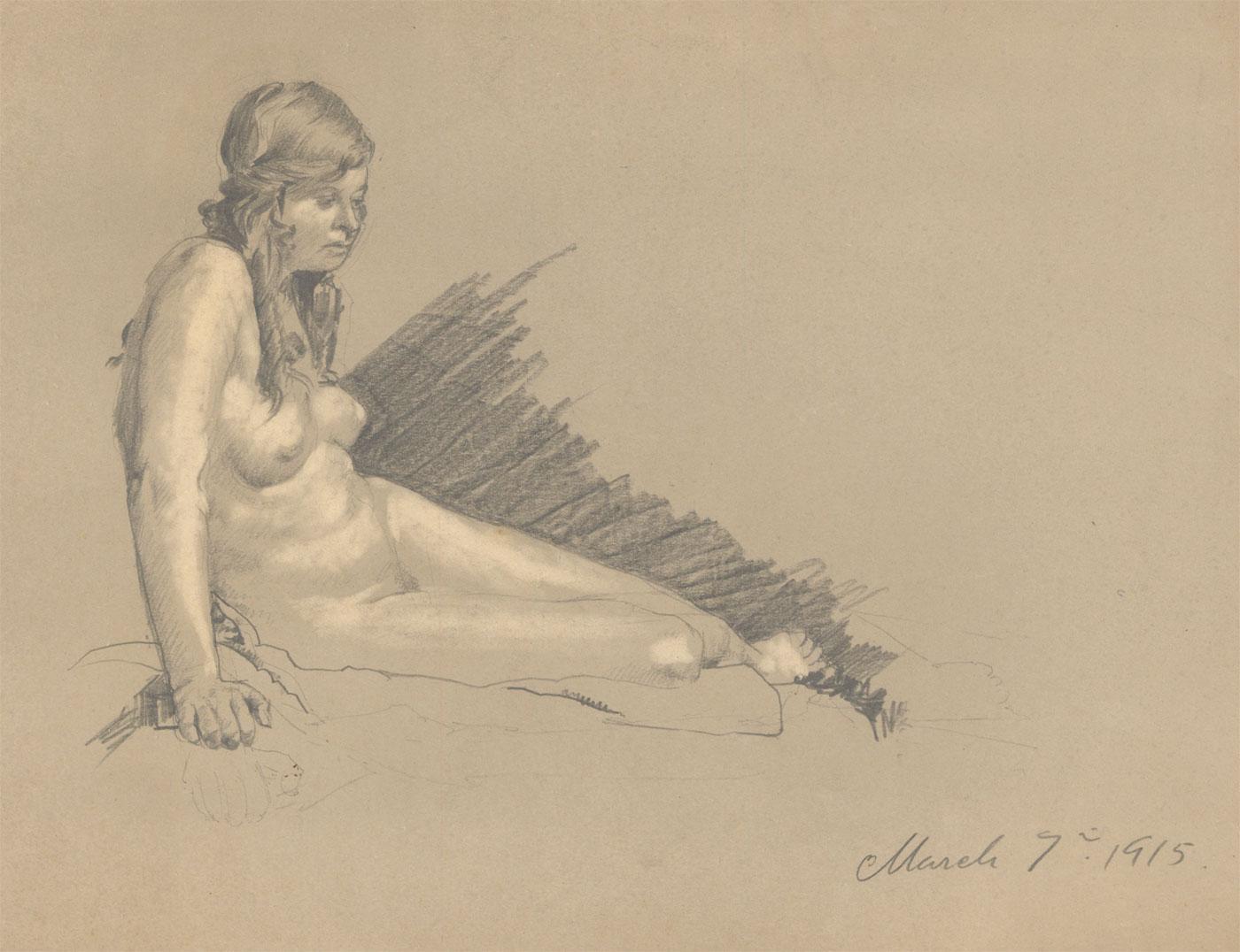 William Robert Hay - Signed 1915 Graphite Drawing, Female Nude William Robert Hay
