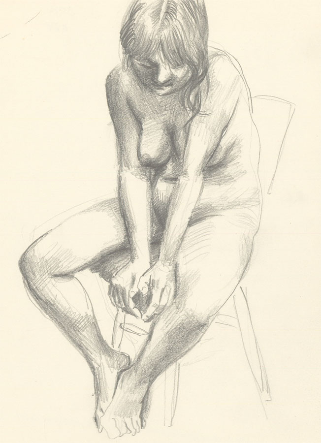 Glyn Morgan (1926-2015) - Graphite Drawing, Seated Female Nude Glyn Morgan (1926-2015)