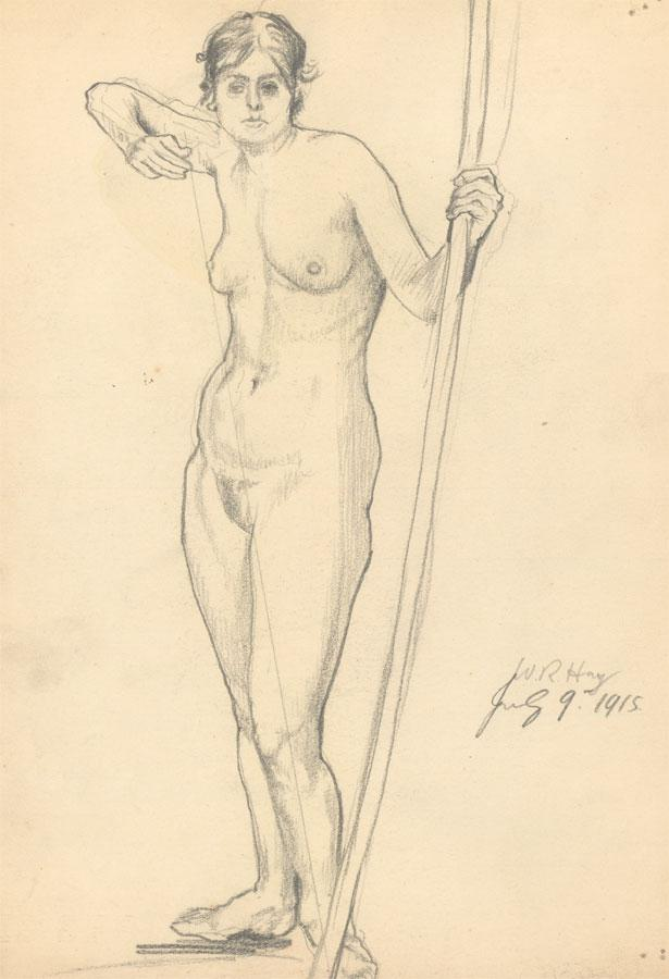 William Robert Hay - Signed 1915 Graphite Drawing, Female Nude. William Robert Hay