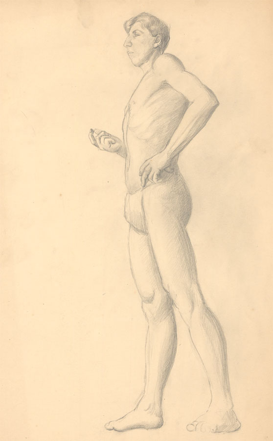 Art Student - Fine Mid 20th Century Graphite Drawing, Male. Art Student
