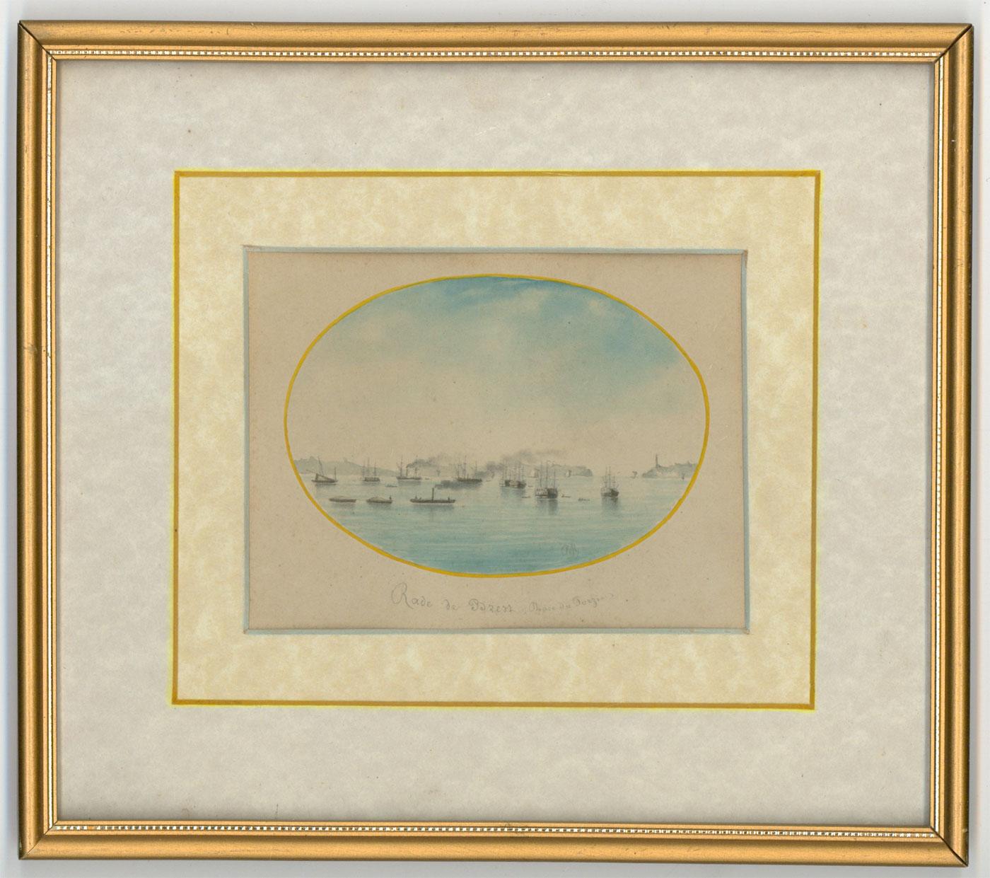 O.M. - Gilt Framed 19th Century Miniature Watercolour, Roadstead. O.M.