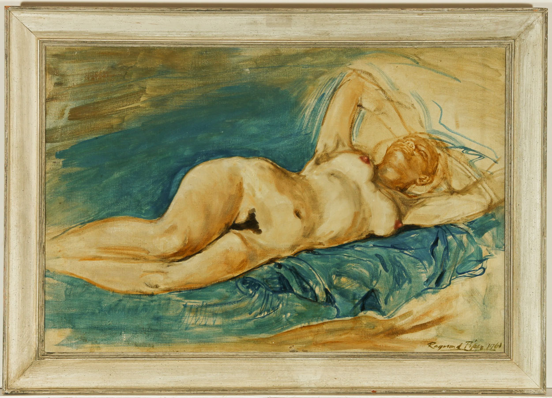 Raymond Piper RUA - Signed 1964 Oil, Reclining Female Nude Raymond Piper RUA