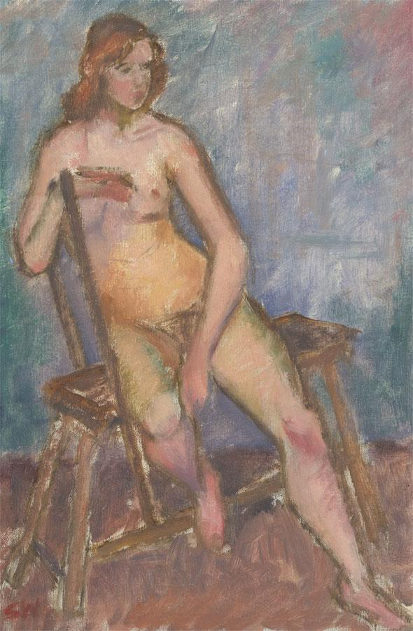 Modern British School Mid 20th Century Oil - Seated Female Nude