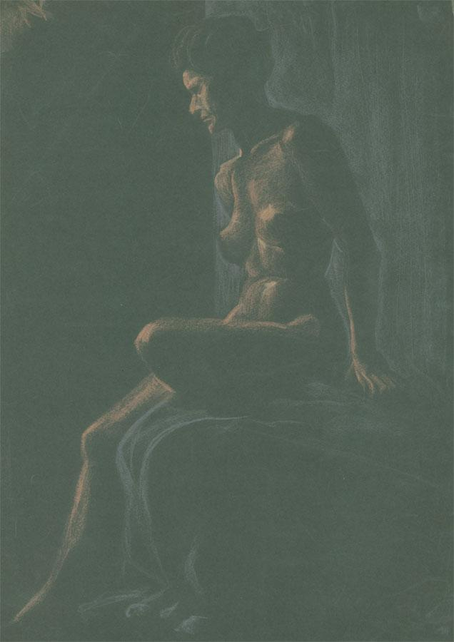 Early 20th Century Pastel - Female Nude Reclining