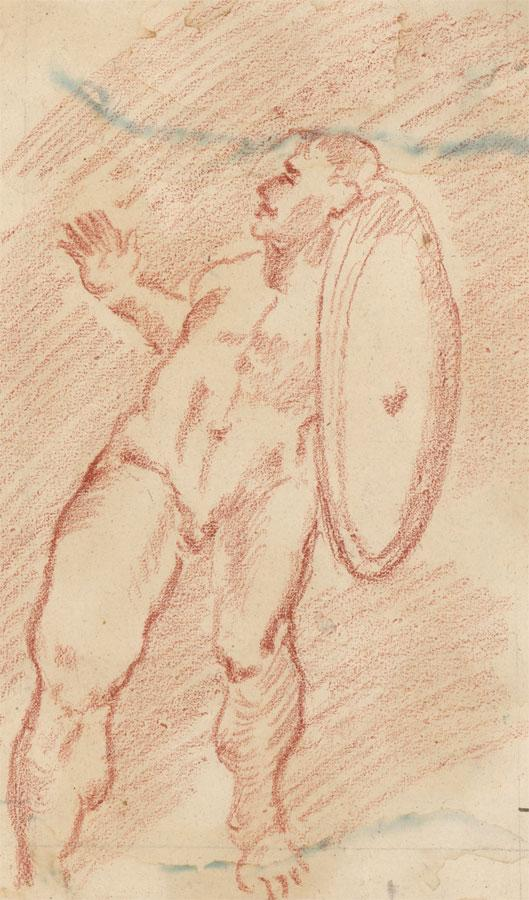 19th Century Sanguine - Nude Man with Shield