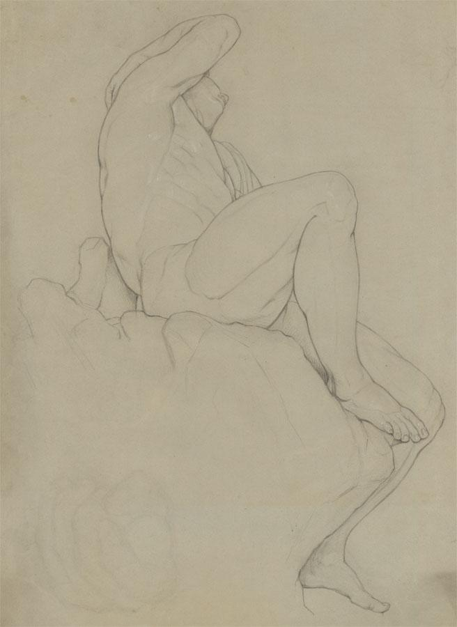 20th Century Graphite Drawing - Male Nude on a Rock