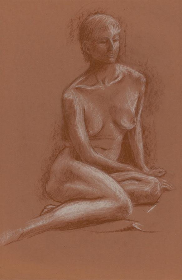 John G. Innes - circa 1942 Pastel, Seated Female Nude John G. Innes