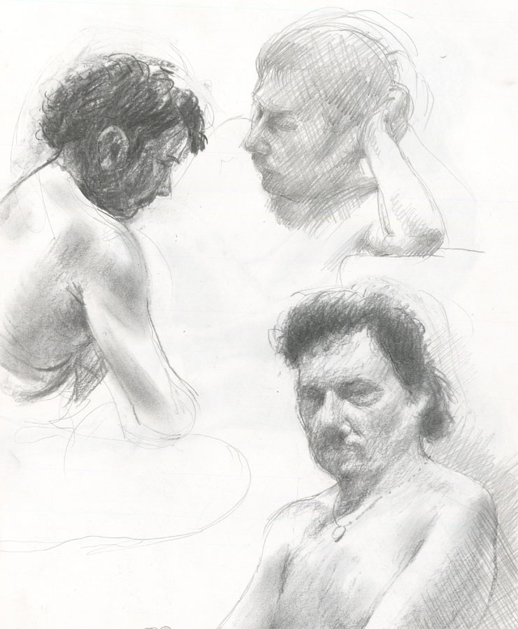 Contemporary Graphite Drawing - Studies of a Male Nude