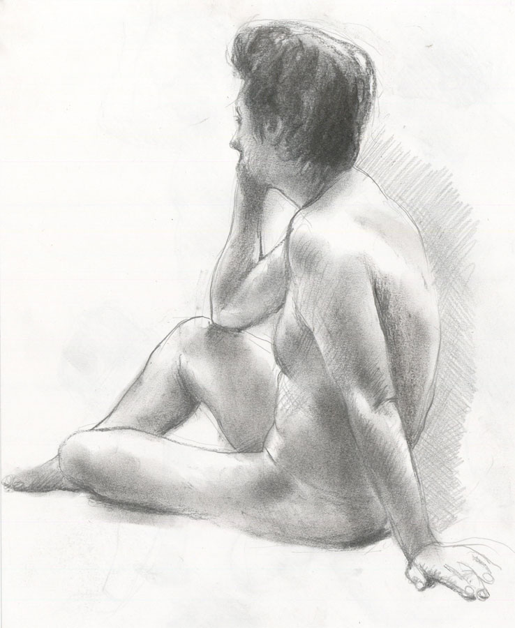 Contemporary Charcoal Drawing - Studies of a Male Nude