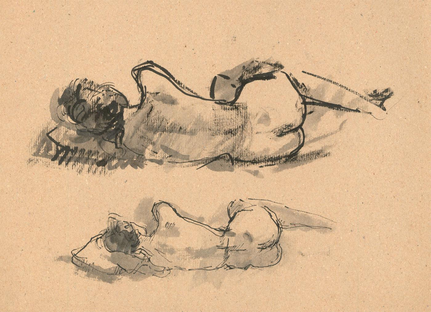 Peter Collins ARCA - c.1970s Pen and Ink Drawing, Female Nude Studies Peter Collins ARCA