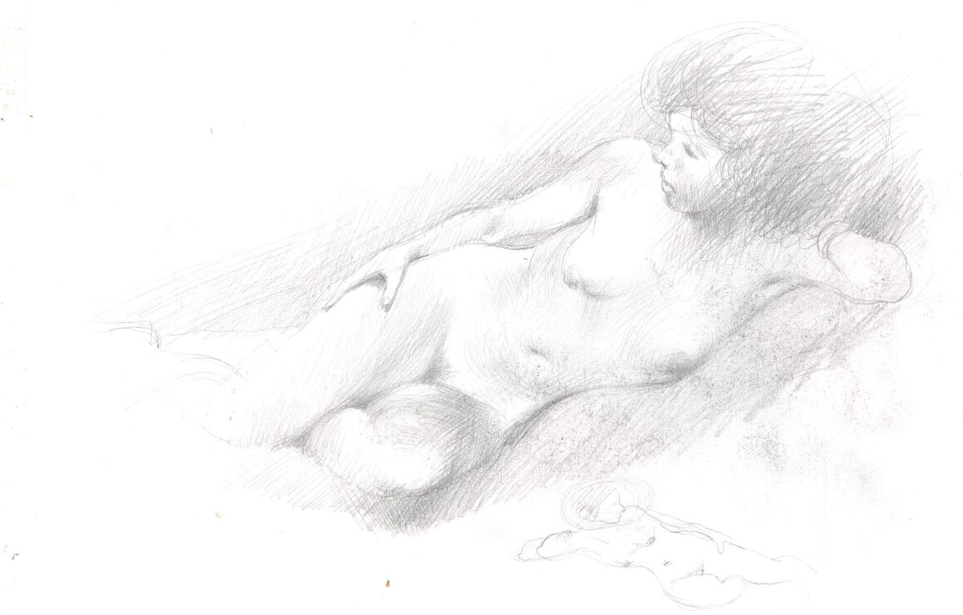 Contemporary Charcoal Drawing - Female Nude, From Behind