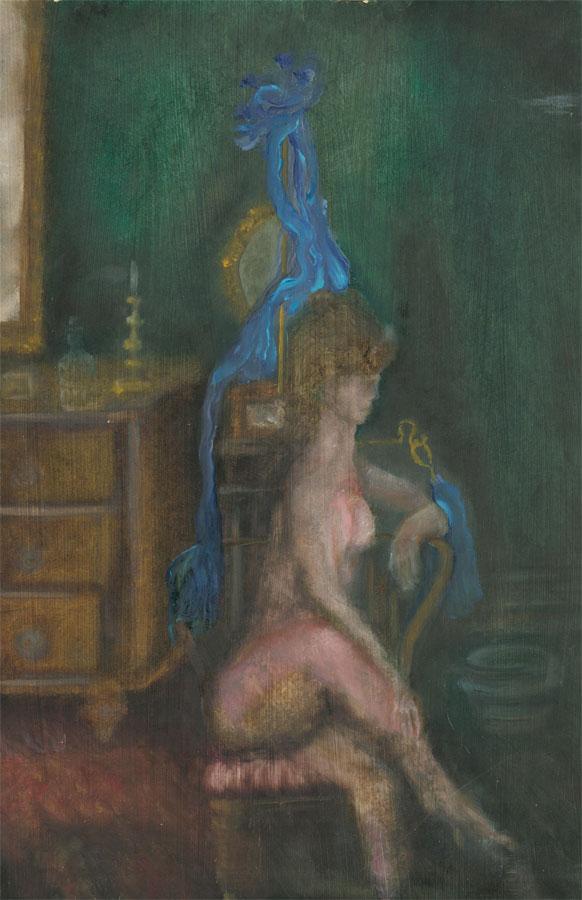 Contemporary Oil - Nude in an Interior