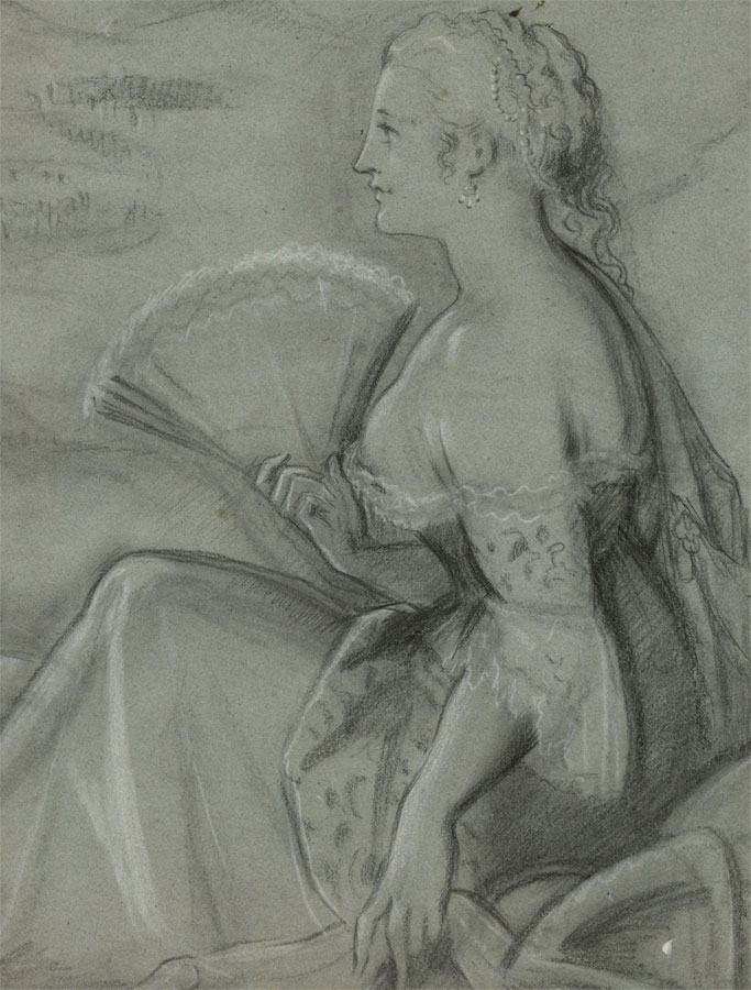 Classical 20th Century Charcoal Drawing - Portrait of an Elegant Lady