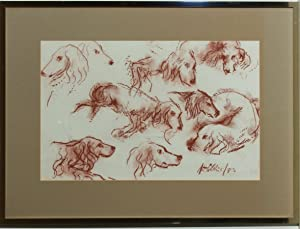 Peter Collins ARCA - Signed and Framed 1982 Sanguine, Studies of Dogs