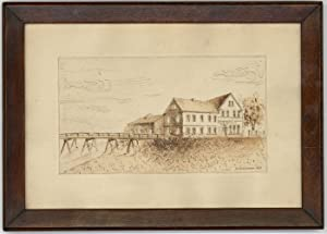 K. Hennemann - 1947 Pen and Ink Drawing, Building and Jetty