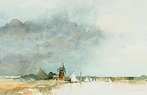 Graham Sproston (b.1944) - Signed 1995 Watercolour, Landscape with Windmill: Graham Sproston (b...