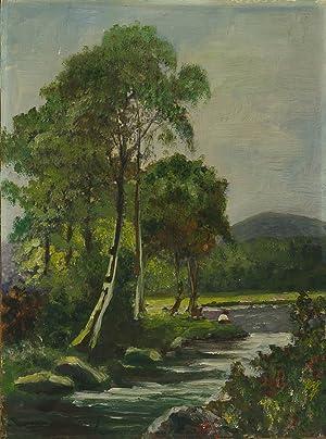 Mid 20th Century Oil - River Landscape