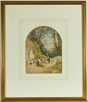 Late 19th Century Watercolour - Seated Figures with Hay