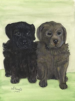 W. Lewis - 1997 Gouache, Study of a Pair of Dogs