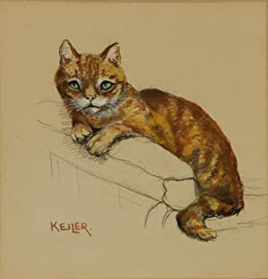 Keiler - Mid 20th Century Pastel, Study of a Ginger Cat