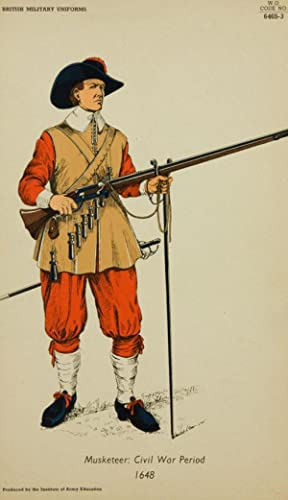 20th Century Lithograph- British Army Uniforms: Musketeer: Civil War Period 1648