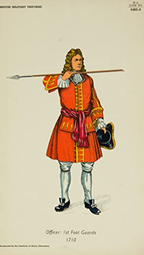 20th Century Lithograph - British Army Uniforms: Officer: 1st Foot Guards 1710