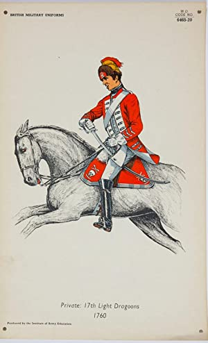 20th Century Lithograph - British Army Uniforms: Pte: 17th Light Dragoons 1760