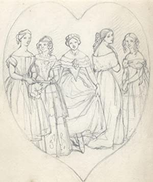 Mid 20th Century Graphite Drawing - Victorian Ladies