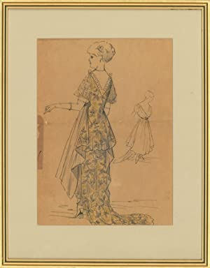 A Set of Three 19th Century Pen and Ink Drawings - French Fashion Illustrations