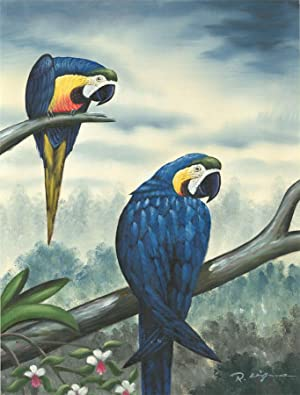 R. Kingman - Signed Contemporary Oil, Parrots on a Branch