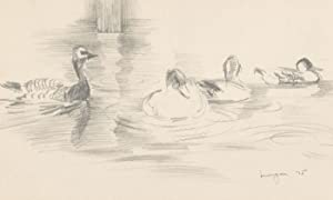 Glyn Morgan (1926-2015) - Signed 1975 Graphite Drawing, Ducks on a River