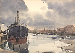 John Godfrey - 1974 Watercolour, Ship Docked: John Godfrey