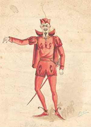 Flip - Early 20th Century Watercolour, Devil Costume Design