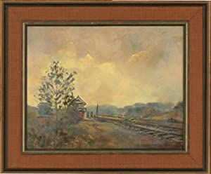 L.S. Rochester - Signed 1974 Oil, Train Tracks Through a Landscape