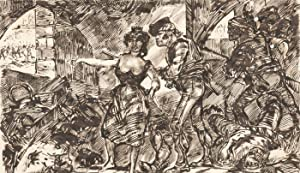 Charles William Cole - Late 19th Century Pen and Ink Drawing, Battle Scene