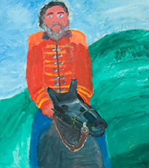 Framed Contemporary Oil - Man Riding a Horse