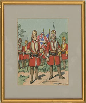 Victor Huen - Pair of 20th Century Lithograph, British Military Dress Studies