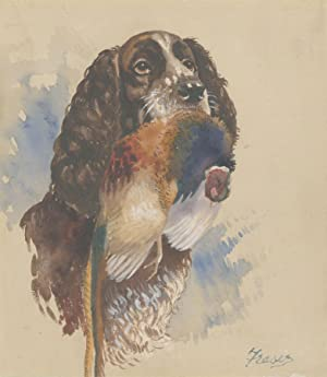 Fraser - Signed Contemporary Watercolour, Hunting Spaniel with Game
