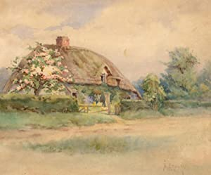 Dorothy Brown (b.1894) - 1922 Watercolour, Study of a Rural Thatched Cottage
